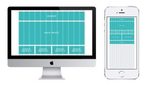 Web-page layout with grid on the desctop and mobile